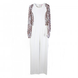 WHITE JUMPSUIT WITH PINK ANIMALIER INSERTS