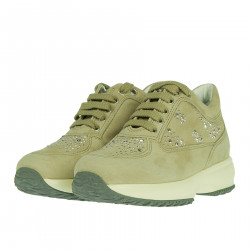BEIGE SUEDE SNEAKER WITH STRASS APPLICATION