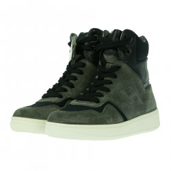 HIGH GRAY AND BLUE SUEDE SNEAKER