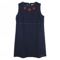 DENIM DRESS WITH EMBROIDERY ROSE