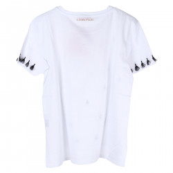 WHITE T SHIRT WITH BLACK INSERT