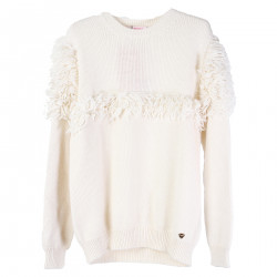 WHITE HEAVY SWEATER WITH LONG WOOL INSERT