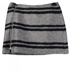 GREY SKIRT WITH BLUE LINES