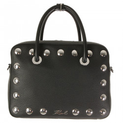 BLACK LEATHER BAG WITH FLAT STUDDED APPLICATIONS