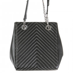 BLACK BUCKET BAG QUILTED EFFECT
