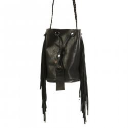 BLACK BUCKET BAG WITH BLACK FRINGES