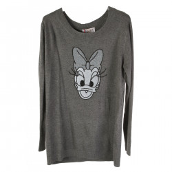 GRAY LONG SLEVEES SWEATER WITH APLLICATIONS