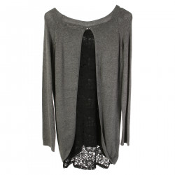 GRAY LONG SLEEVES SWEATER WITH FRONTAL PRINT