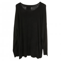 BLACK LONG SLEEVES SWEATER WITH STONES APPLICATION