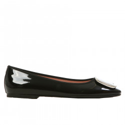 ZOEY BLACK PATENT LEATHER FLAT SHOE