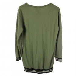 GREEN LONG SLEEVES SWEATER WITH STONES APPLICATION