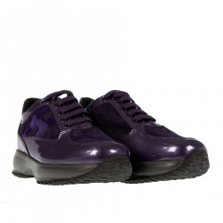 VIOLET SUEDE AND PATENT SNEAKER