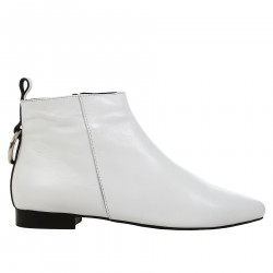 WHITE LEATHER LOW BOOT