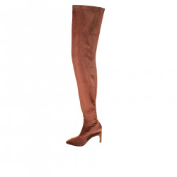 DARK BROWN ELASTIC SATIN BOOT