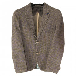 GRAY AND BROWN JACKET