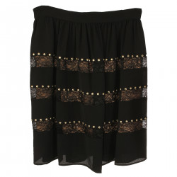 BLACK SKIRT WITH LACE INSERTS
