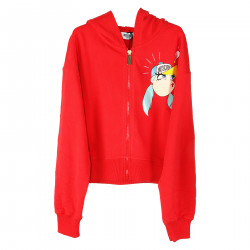 RED SWEATER WITH FRONTAL PRINT