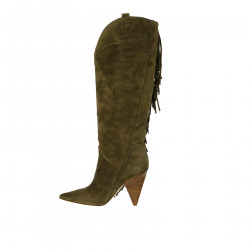 BEIGE HIGH BOOT WITH FRINGES