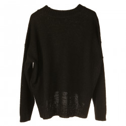 BLACK HEAVY SWEATER WITH FRONTAL WRITTEN