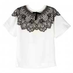 T SHIRT BIANCA CON STAMPA PIZZO