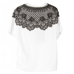 WHITE T SHIRT WITH LACE PRINT