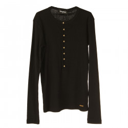 BLACK LONG SLEEVES SWEATER WITH GOLD BUTTONS