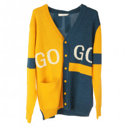 YELLOW AND BLUE CARDIGAN WITH FRONTAL WRITE