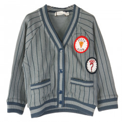 BLUE STRIPED CARDIGAN WITH PATCHES APPLICATION