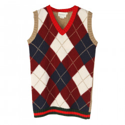 GILET IN FANTASIA ARGYLE MULTICOLOR