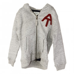 GRAY SWEATSHIRT WITH RED FRONTAL EMBROIDERY