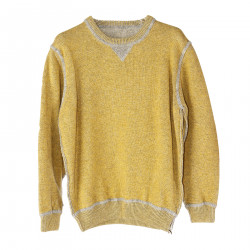 YELLOW MUSTARD SWEATER WITH GRAY INSERTS