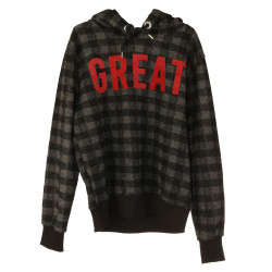GRAY ND BLACK CHECKED SWEATSHIRT