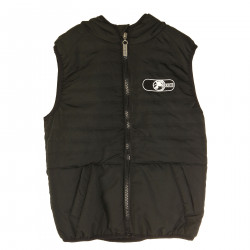 BLACK GILET WITH FRONTAL LOGO