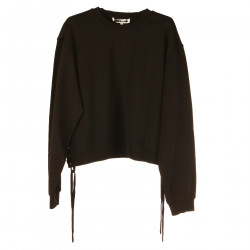 BLACK SWEATSHIRT WITH SIDE EYELETS