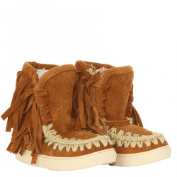 BROWN SUEDE MOON BOOT WITH FRINGE
