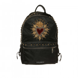 BLACK BACKPACK WITH EMBROIDERY AND STUDS