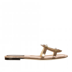 PINK GOLD LEATHER SANDAL