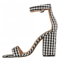 WHITE AND BLACK CHECK SANDALS