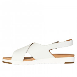WHITE SANDAL IN LEATHER