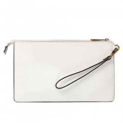 WHITE POCHETTE WITH FLOWERS APPLIED