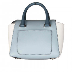 LIGHT BLUE AND WHITE LEATHER BAG