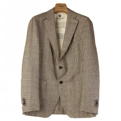 CHECKED WOOL AND SILK BLAZER