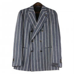 BLUE STRIPED DOUBLE BREASTED BLAZER