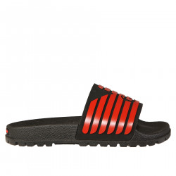BLACK SLIPPER WITH RED LOGO