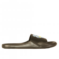 BLACK SLIPPER WITH LIGHT BLUE AND YELLOW LOGO