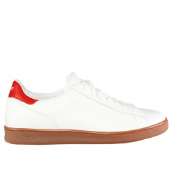 WHITE AND RED LEATHER SNEAKER