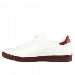 WHITE AND BORDEAUX LEATHER SNEAKER
