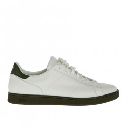 WHITE AND GREEN LEATHER SNEAKER