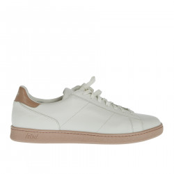 WHITE AND PINK LEATHER SNEAKER