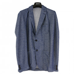 BLUE AND WHITE NOTCHED LAPEL BLAZER